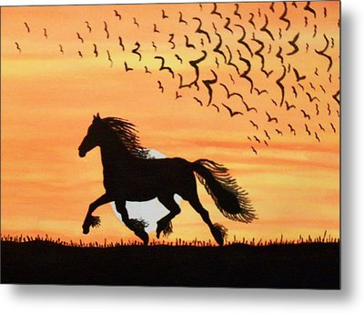 Metal Print featuring the painting Running In The Wind by Connie Valasco