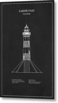 Sabine Pass Lighthouse - Louisiana - Blueprint Drawing Metal Print