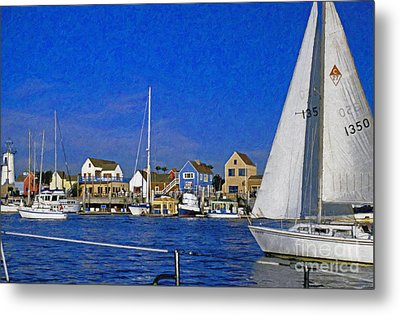 Metal Print featuring the photograph Sailing Marina Del Rey Fisherman's Village by David Zanzinger