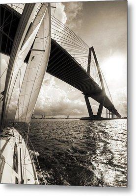Sailing On The Charleston Harbor Beneteau Sailboat Metal Print by Dustin K Ryan
