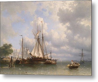 Sailing Ships In The Harbor Metal Print by Anthonie Waldorp