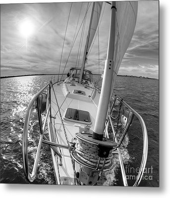 Sailing Yacht Fate Beneteau 49 Black And White Metal Print