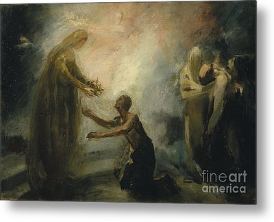 Saint Isabel Offering The Queen's Crown To A Beggar Metal Print