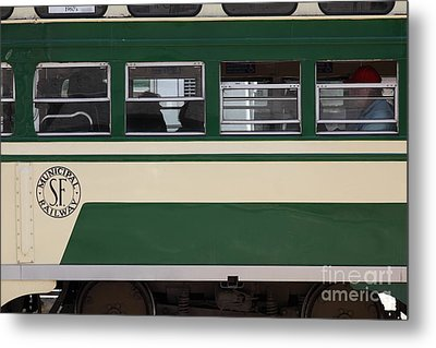 San Francisco Vintage Streetcar On Market Street . 5d17974 Metal Print by Wingsdomain Art and Photography
