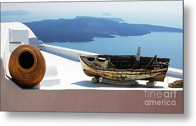 Metal Print featuring the photograph Santorini Greece by Bob Christopher