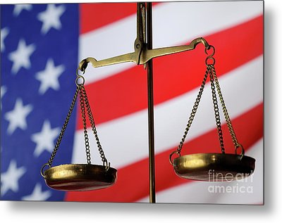 Scales Of Justice And American Flag Metal Print by Sami Sarkis