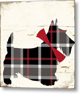Scottish Terrier Tartan Plaid Metal Print by Mindy Sommers
