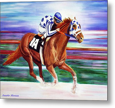 Secretariat Painting Blurred Speed Metal Print