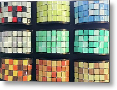 Selection Of Decorative Tiles Metal Print by Tom Gowanlock