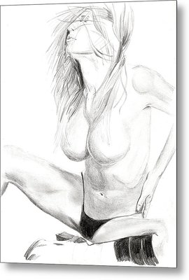 Metal Print featuring the drawing Shannon by Michael McKenzie