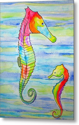 Metal Print featuring the painting Shave-ice Seahorses by Erika Swartzkopf