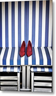 Shoes In A Beach Chair Metal Print by Joana Kruse