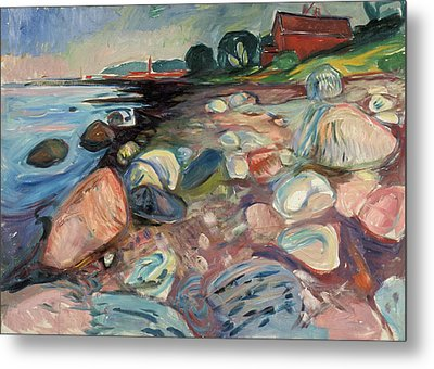 Shore With Red House Metal Print by Edvard Munch