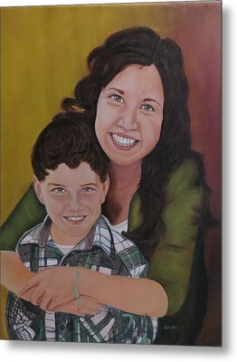 Metal Print featuring the painting Siblings by Sharon Schultz