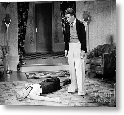 Silent Film Still: Fainting Metal Print by Granger
