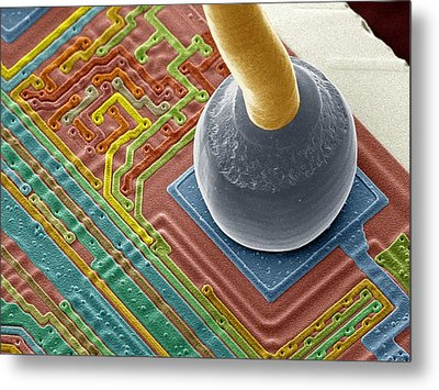 Silicon Chip Micro-wire, Sem Metal Print by Power And Syred