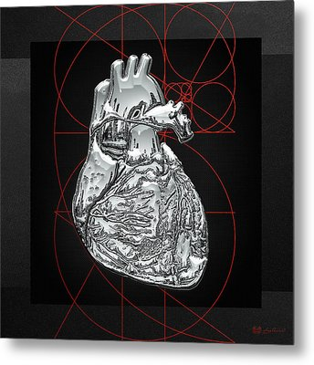 Silver Human Heart On Black Canvas Metal Print