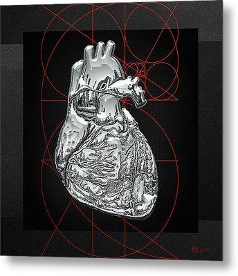 Silver Human Heart On Black Canvas Metal Print by Serge Averbukh
