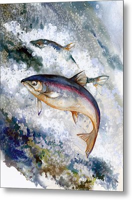 Silver Salmon Metal Print by Peggy Wilson
