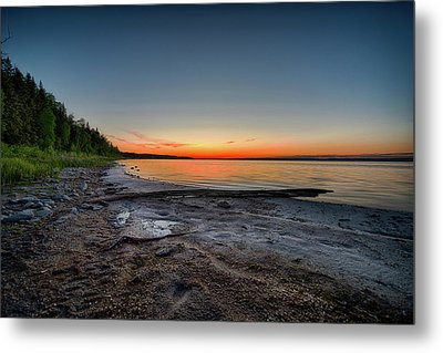Metal Print featuring the photograph Skeleton Lake Beach At Sunset by Darcy Michaelchuk