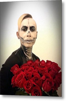 Skull Tux And Roses Metal Print by Kent Chua