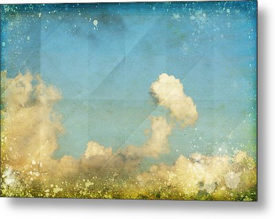 Sky And Cloud On Old Grunge Paper Metal Print