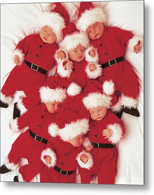 Sleepy Santas Metal Print