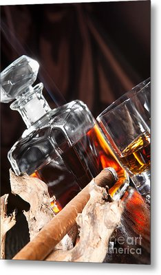 Smoking Cigar And Whiskey In Glass Metal Print by Wolfgang Steiner