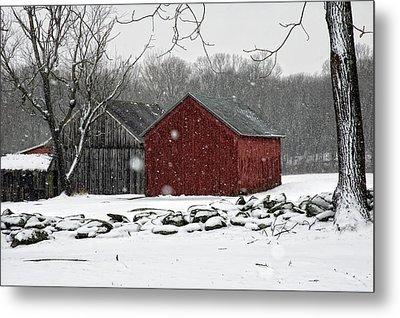 Snow Barns Metal Print