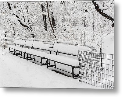 Snow In Central Park Nyc Metal Print by Susan Candelario