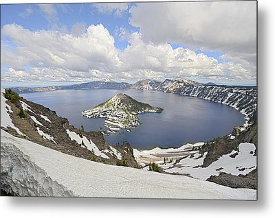 Snow On Crater Lake Hdr Metal Print