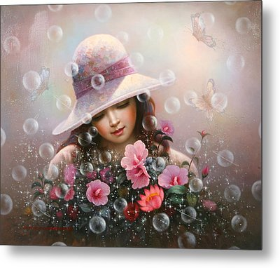 Soap Bubble Girl - Rose Sharon Of Song Metal Print