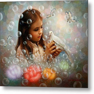 Soap Bubble Girl Metal Print
