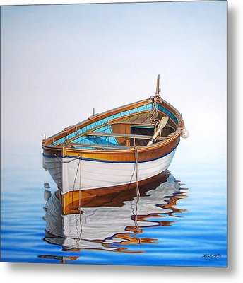 Solitary Boat On The Sea Metal Print by Horacio Cardozo