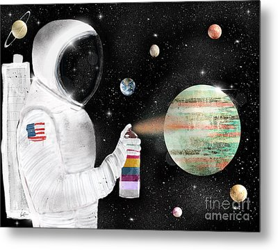 Metal Print featuring the painting Space Graffiti by Bri B
