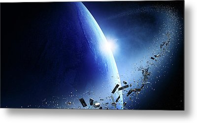 Space Junk Orbiting Earth Metal Print by Johan Swanepoel