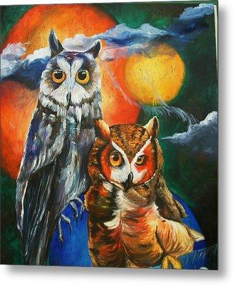 Space Owls Metal Print by Andrea  Darlington