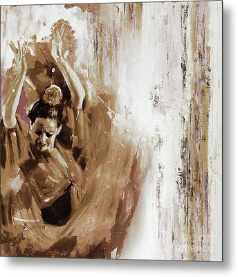 Metal Print featuring the painting Spanish Woman Dance  by Gull G