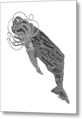 Sperm Whale And Squid Metal Print by Carol Lynne