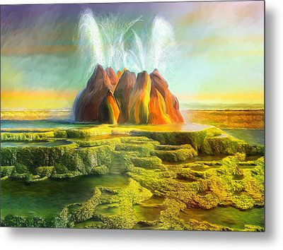 Spitting-fly Geyser In Nevada Metal Print by Angela A Stanton