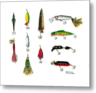 Sport Fishing Spinners Spoons And Plugs Metal Print by Sharon Blanchard