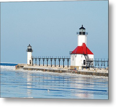 St Joseph North Pier Lights Metal Print by Michael Peychich