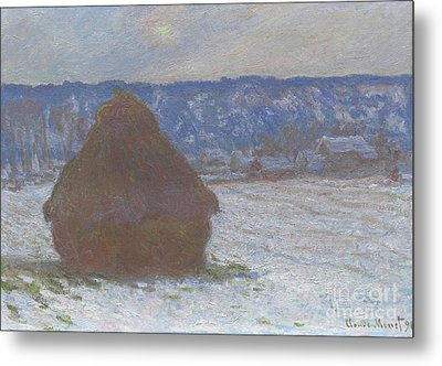 Stack Of Wheat Snow Effect, Overcast Day Metal Print