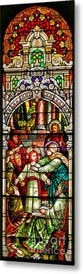 Metal Print featuring the photograph Stained Glass Scene 3 Crop by Adam Jewell