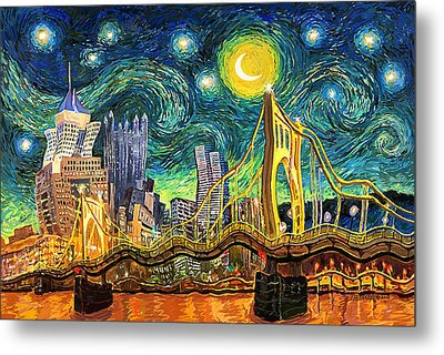 Starry Night In Pittsburgh Metal Print