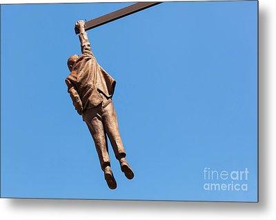 Statue Of Sigmund Freud Hanging By One Hand In Prague, Czech Republic. Metal Print by Michal Bednarek