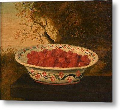 Still Life Of Raspberries In A Lowestoft Bowl Metal Print by James Sillett