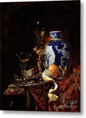Still Life With A Chinese Porcelain Jar Metal Print by Willem Kalf