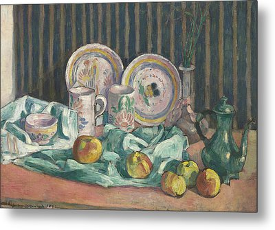 Still Life With Apples And Fruit Bowls Metal Print