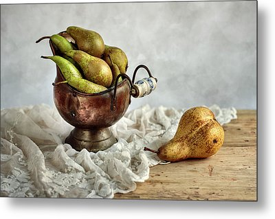 Still-life With Pears Metal Print by Nailia Schwarz